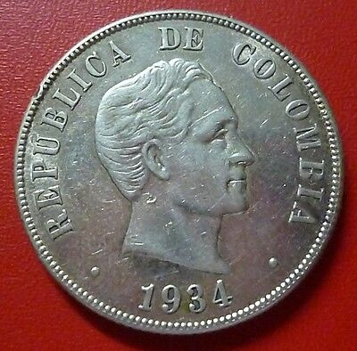 COLOMBIA SILVER COIN 50 Centavos, KM274 XF+ 1934