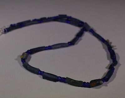 Ancient Roman Blue Glass Bead Necklace Circa 2Nd Century Ad - No Reserve