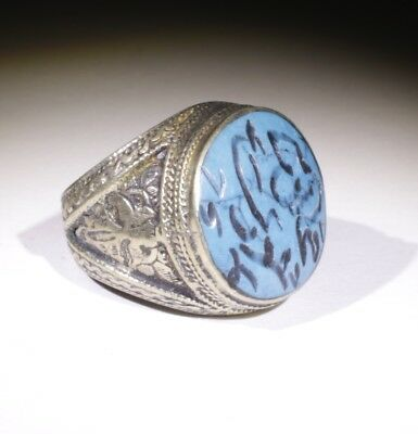Nice Large Post Medieval Silver Lapis Ring - No Reserve! 01211