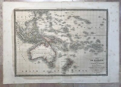 NEW HOLLAND ASIATIC ISLANDS DATED 1838 by LAPIE LARGE ANTIQUE ENGRAVED MAP
