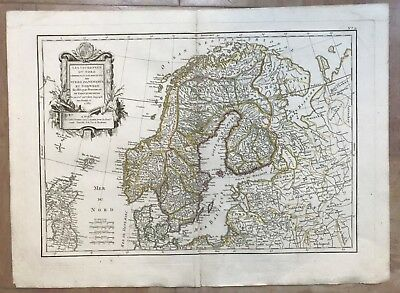 SCANDINAVIA DATED 1782 by JANVIER 18e CENTURY LARGE NICE ANTIQUE ENGRAVED MAP