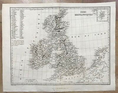 GREAT BRITAIN IRELAND by DUFOUR 19e CENTURY ANTIQUE COPPER ENGRAVED MAP