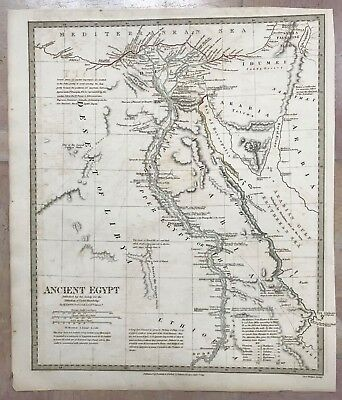 EGYPT by G. LONG DATED 1831 XIXe CENTURY DETAILED ANTIQUE COPPER ENGRAVED MAP