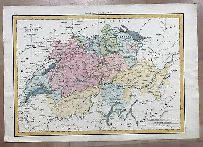 SWISS by A.H. DUFOUR 19e CENTURY LARGE ANTIQUE COPPER ENGRAVED MAP IN COLORS