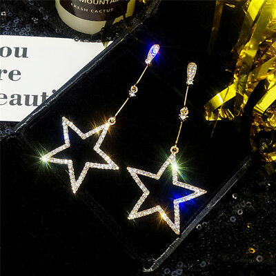 Silver/Gold Plated Long Chain Crystal Pentagram Star Dangle Drop Stud Earrings Z