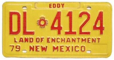 Vintage Yellow New Mexico 1979 DEALER License Plate, DL-4124, Eddy County