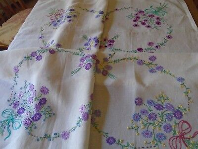 Vintage  Hand Embroidered Irish Linen Tablecloth -  40 X 42 Inches