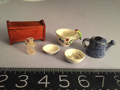 ANTIQUE/VINTAGE doll/dollhouse MINIATURE porcelain watering can, wood chest +
