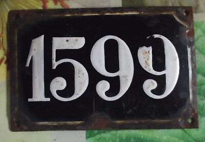 Large old black French house number 1599 door gate wall plate enamel metal sign