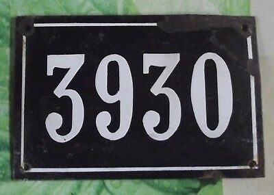 Large old black French house number 3930 door gate wall plate enamel metal sign