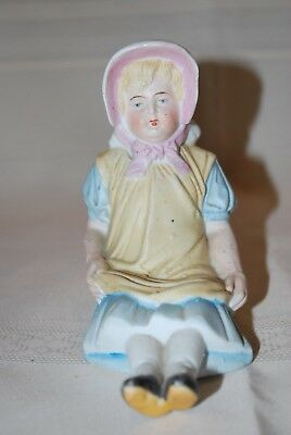 "Antique German Piano Baby Bisque Figurine 4 1/2"" High Girl with Bonnet"