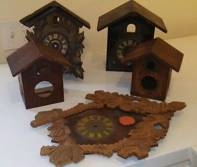 Lot of 4 German Wood Cuckoo Clock Cases 1 Front  Parts/Repair Miken Poppo Maak