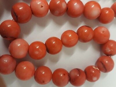 Lovely antique vintage art deco real coral bead apples necklace