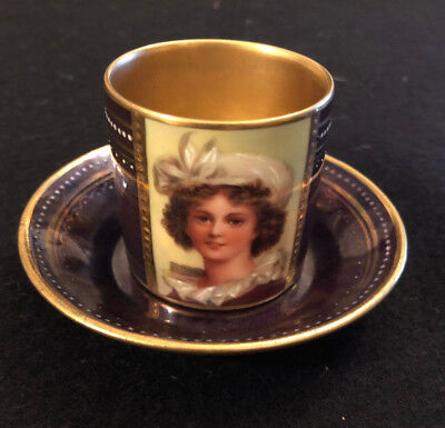 Antique 19th Century Royal Vienna Hand Painted and Signed Coffee Cup and Saucer
