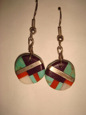 """Vintage Zuni 1 5/8 """" Sterling Silver Inlaid Turquoise Coral Jet Dangle Earrings"""
