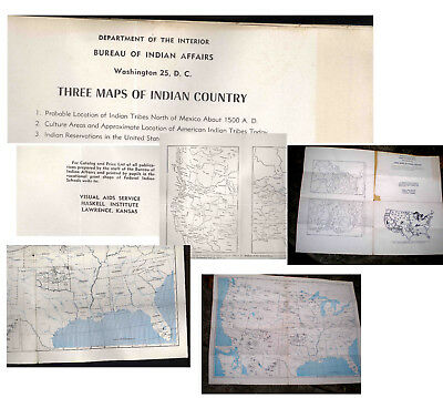 1948 Three Maps Of Indian Country-Bereau Of Indian Affairs-Dept Of Interior