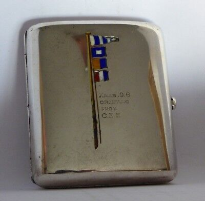 Antique 1916 Solid Silver Cigarette Case with Flags on Pole - Heavy 141g