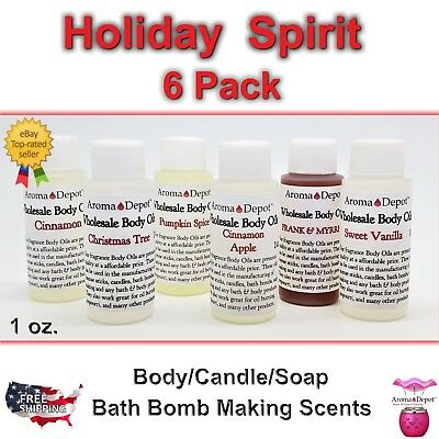 1oz HOLIDAY SPIRIT PACK Fragrance Body Oil Soap Bath Candle Making lot of 6 PURE