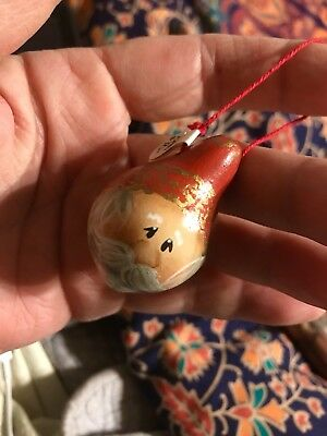 Santa hand painted christmas Gourd ornaments Signed Tiny