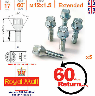 M12x1.5 40mm extended thread taper alloy wheel spacer bolts - BMW 3 series x 5