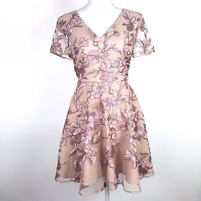 152480fbfc6d Two Sisters The Label Dress 8 Pink Floral Saskia Rose Embroidered Sheer Lace  Up