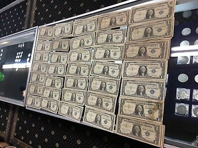 Lot of 100 1957 Silver Certificates One Dollar Note Circulated