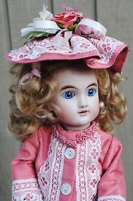 """Antique French Bleuette Doll 11"""" Bebe Paris With Wardrobe Reproduction Nice"""