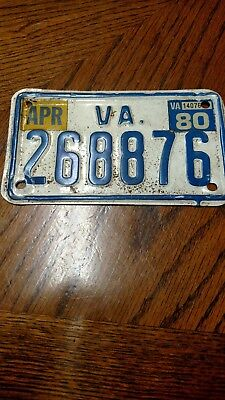 1980 Virginia Motorcycle License Plate