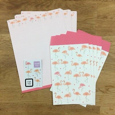cute kawaii pen pal letter set writing paper stationery & envelop Pink Flamingo