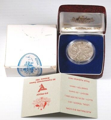 1982 $10 Proof XII Commonwealth Games Brisbane Silver Coin (92.5% Silver)