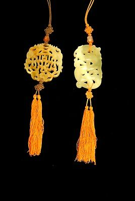 Chinese Carved Jade Pieces Orange Tassels Ornaments Pendants Crafts Pulls