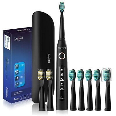 Sonic Electric Toothbrush With Travel Case 6 Replacement Heads Up to 30 Days Use