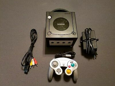 Nintendo GameCube black System DOL-001 bundle complete console free shipping