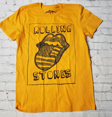 Rolling Stones Tee T Shirt S Small Yellow Tongue American Flag