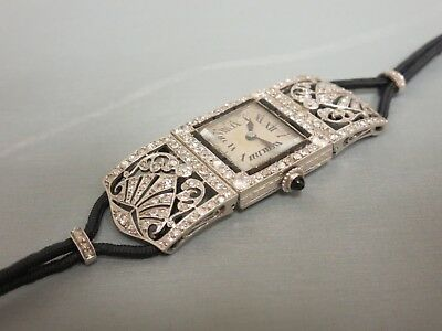 Vintage Platinum & Diamond Art Deco Wristwatch With French Hallmarks