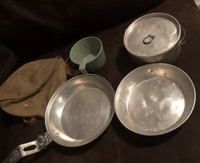 Boy Scouts of America Vintage Mess Kit Camping Cook 4 Piece Set Metal
