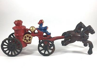 Vintage Cast Iron Horse Drawn Fire Truck Pumper Wagon with Fireman Reproduction