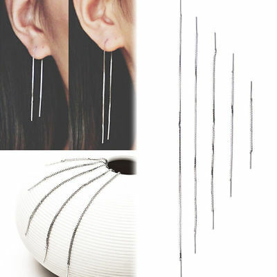 1Pair Sterling Silver Threader Earring Chain Ear Thread Girl Women Jewellry Gift