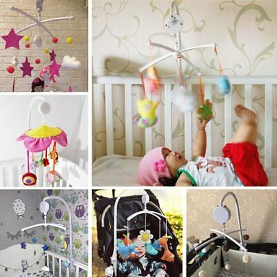 White Baby Crib Mobile Bed Bell Toy Holder Arm Bracket + Wind-up Music Box  RU