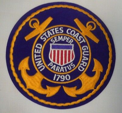 """United States Coast Guard 8"""" Round Embroidery Logo Patch Semper Paratus Anchors"""