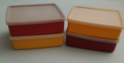 Vintage Tupperware 4  Square Sandwich Containers Harvest Colored