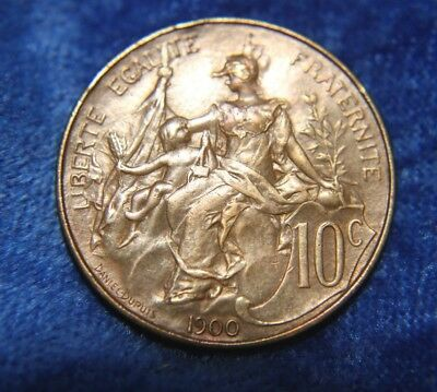 France 10 Centimes 1900 Stunning Old Coin  a