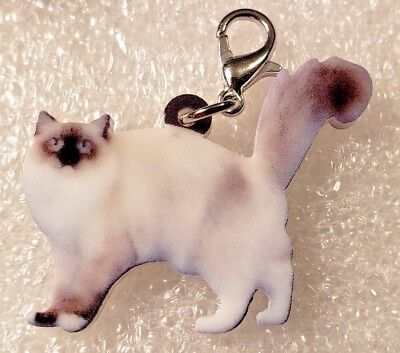 Himalayan Cat Standing Realistic Acrylic Purse Charm Zipper Pull Jewelry