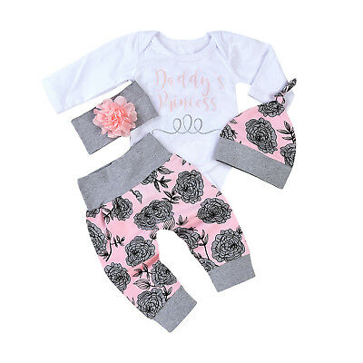 4PCS Newborn Infant Baby Girl Outfits Clothes Set Romper Bodysuit Pant Leggings