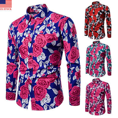 Luxury Mens Long Sleeve Casual Formal Rose POLO Shirt Blouse Top Fashion