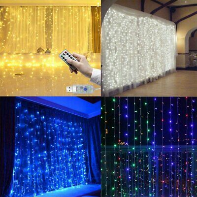 300 LED 3M Fairy Curtain String Lights Wedding Xmas Party Perfect Holiday Decor