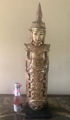 Antique 19th century Carved Wooden Buddha Statue
