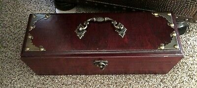Asian Style Rosewood Men's Chest-Type  Box w/ Brass Hardware & Red Lining