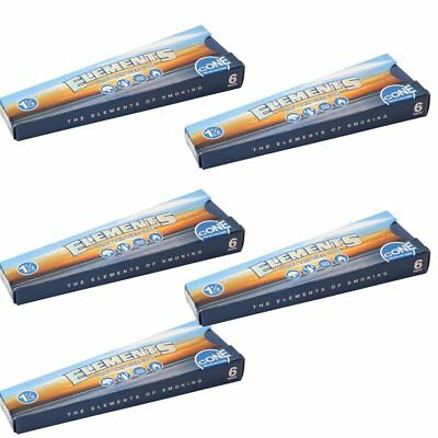 Elements 1 1/4  Pre Rolled Rice Papers Cone 6 Pack X5 Kit Spanish Sized 30 Cones