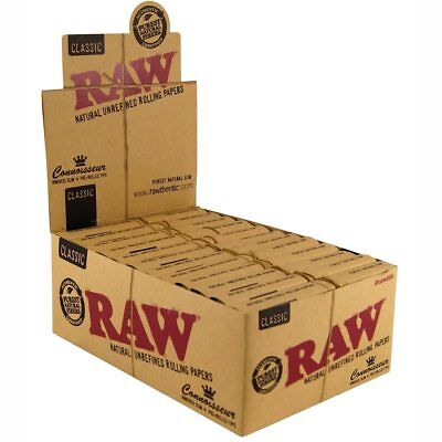 RAW Classic Connoisseur Regular Kingsize Rolling Papers Pre-Rolled Tips Full Box